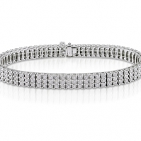 18ct White Gold Three Row Diamond Line Bracelet