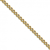 18ct Yellow Gold Rubover Set Diamond Bracelet