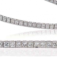 Platinum Princess Cut Diamond Line Bracelet