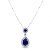 18ct White Gold Sapphire And Diamond Drop Pendant