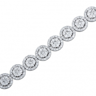 18ct White Gold Cluster Diamond Halo Bracelet