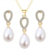 18ct Yellow Gold Freshwater Pearl And Diamond Drop Earrings, Pendant To Match