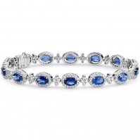 18ct White Gold Oval Shape Sapphire And Diamond Halo Bracelet