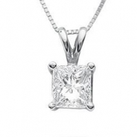 18ct White Gold Traditional Princess Cut Single Stone Pendant
