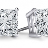 18ct White Gold Princess Cut Studs
