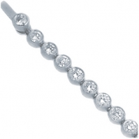18ct White Gold Rubover Set Diamond Line Bracelet
