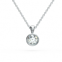 18ct White Gold Rubover Set Diamond Single Stone Pendant