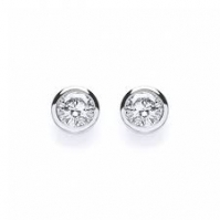 18ct White Gold Rubover Set Diamond Studs