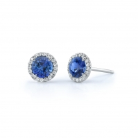 18ct White Gold Sapphire And Diamond Halo Studs