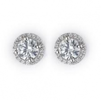 18ct White Hold Single Halo Studs