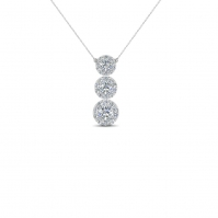 18ct White Gold Triple Halo Drop Pendant