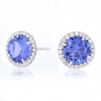 18ct White Gold Tanzanite And Diamond Halo Studs
