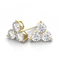 18ct Yellow Gold Three Stone Earrings