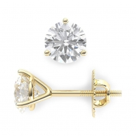 18ct Yellow Gold Flute Style Single Stone Studs