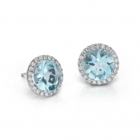 18ct Aqua and Diamond Halo Studs