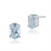 9ct White Gold Aquamarine Single Stone Studs