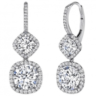 18ct White Gold Halo Drop Earrings