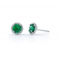 18ct White Gold Emerald And Diamond Halo Studs