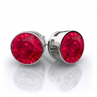 9ct White Gold Rubover Ruby Single Stone Earrings