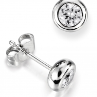 Traditional Rubover Set Diamond Studs, Mounted In Platinum