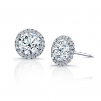 18ct White Gold Diamond Set Halo Studs