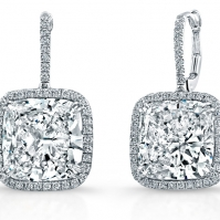 18ct White Gold Cushion Shape Halo Drop Earrings