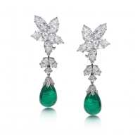 18ct White Gold Elegant Marquise Diamond And Emerald Drop Earrings