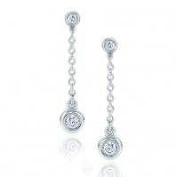 18ct White Gold Delicate Rubover Set Diamond Drop Earrings