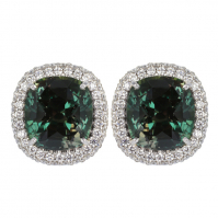 18ct White Gold Alexandrite And Diamond Halo Studs