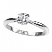 R 4 Claw Diamond Single stone, mounted in Platinum