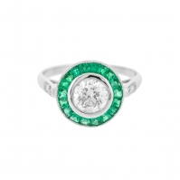 R Art Deco Emerald and Diamond Target ring