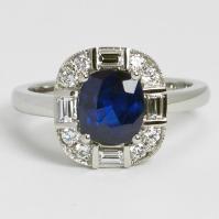 R Art Deco Sapphire, Brilliant cut and Baguette Diamond ring