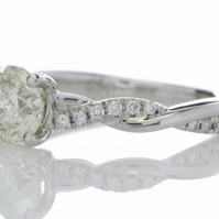 R Diamond Single Stone with an intertwined Diamond Set Shank, mounted in 18ct White Gold