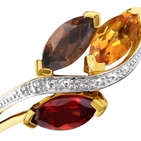 R Garnet, Smokey Quartz and Citrine twist ring, mounted in 9ct Yellow Gold