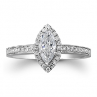 R Marquise and Diamond halo ring, with a Millgrain touch, mounted in Platinum