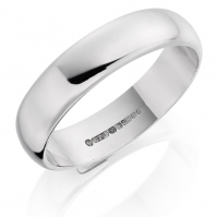 18ct White Gold 5mm D Shape Wedding Band