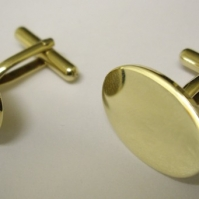 18ct Yellow Gold Plain Disc Cufflinks