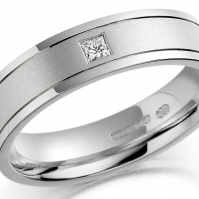 Platinum Wedding Band, Bright Finish Edges With Matte Finish Central Band, Flush Set With Princess Cut Diamond