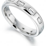 18ct White Gold Flush Set Baguette Diamond Wedding Band
