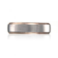 Matte Finish 18ct Rose Gold And Platinum Band