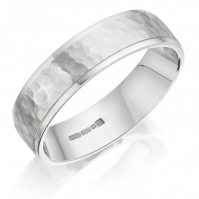 18ct White Gold 5mm Flat Court Hammered And Matte Centre Band, Bright Edges