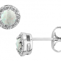 18ct White Gold Opal And Diamond Studs