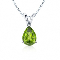 18ct White Gold Pear Shape Peridot Pendant