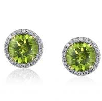 18ct White Gold Peridot And Diamond Halo Earrings