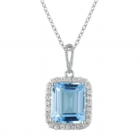18ct White Gold Topaz And Diamond Pendant