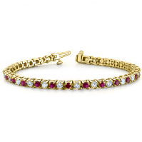 18ct Yellow Gold Ruby And Diamond Claw Set Bracelet
