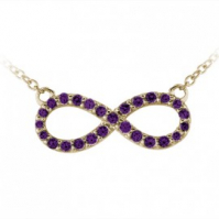 9ct Yellow Gold Amethyst Set Infinity Pendant