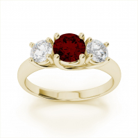 9ct Yellow Gold Garnet And Diamond Three Stone