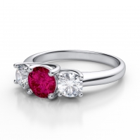 18ct White Gold Ruby And Diamond Three Stone Ring