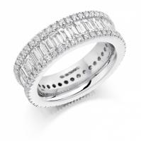 Platinum Bagguette And Brilliant Cut Three Row Ring